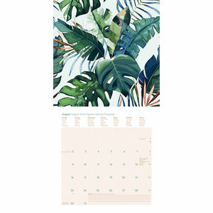 Floral GreenLine Mini Grid Calendar