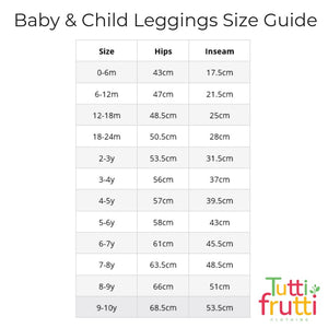 Organic Coral Rainbow Baby and Child Leggings <br>by Tutti Frutti Clothing