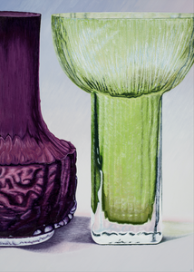 Whitefriars and Alsterbro Glasbruk Vases by Helen Kirkpatrick <br>Painting