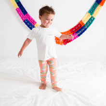 Load image into Gallery viewer, Organic Coral Rainbow Baby and Child Leggings <br>by Tutti Frutti Clothing
