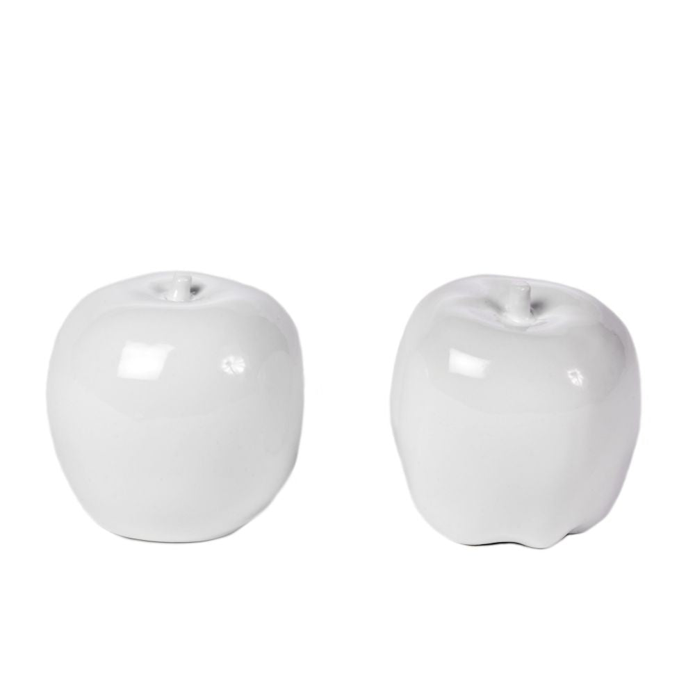 Pair of White Apple Ornaments
