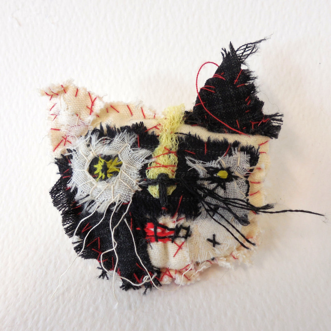 Monochrome Staring Cat Brooch