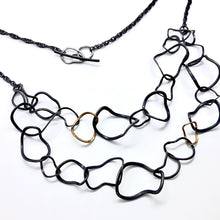 Load image into Gallery viewer, Twisted Chain 18ct Gold Oxidised Necklace By Gemma Scully