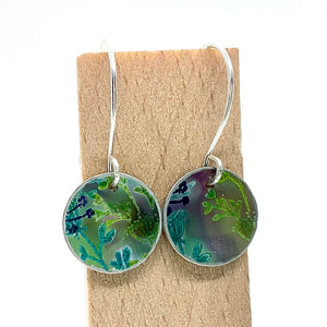 Hand Painted Medium Circle Drop Earrings By Jenny Rothwell