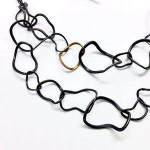 Twisted Chain 18ct Gold Oxidised Necklace By Gemma Scully