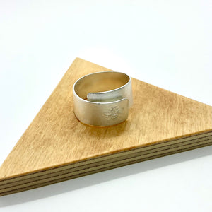 Silver Etched Wrap Ring By Stephanie Mann