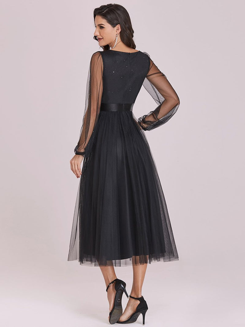 Shiny Ruched Bodice Tulle Midi Evening Dress With Waistband-Noir 3