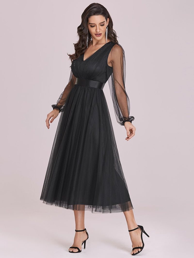 Shiny Ruched Bodice Tulle Midi Evening Dress With Waistband-Noir 4
