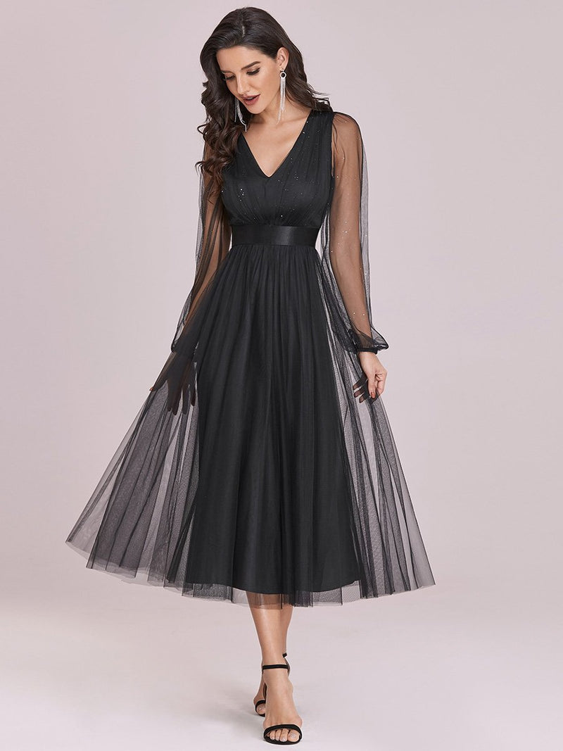 Shiny Ruched Bodice Tulle Midi Evening Dress With Waistband-Noir 1