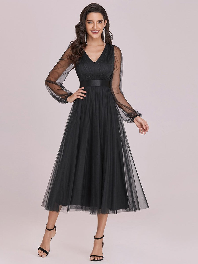 Shiny Ruched Bodice Tulle Midi Evening Dress With Waistband-Noir 2