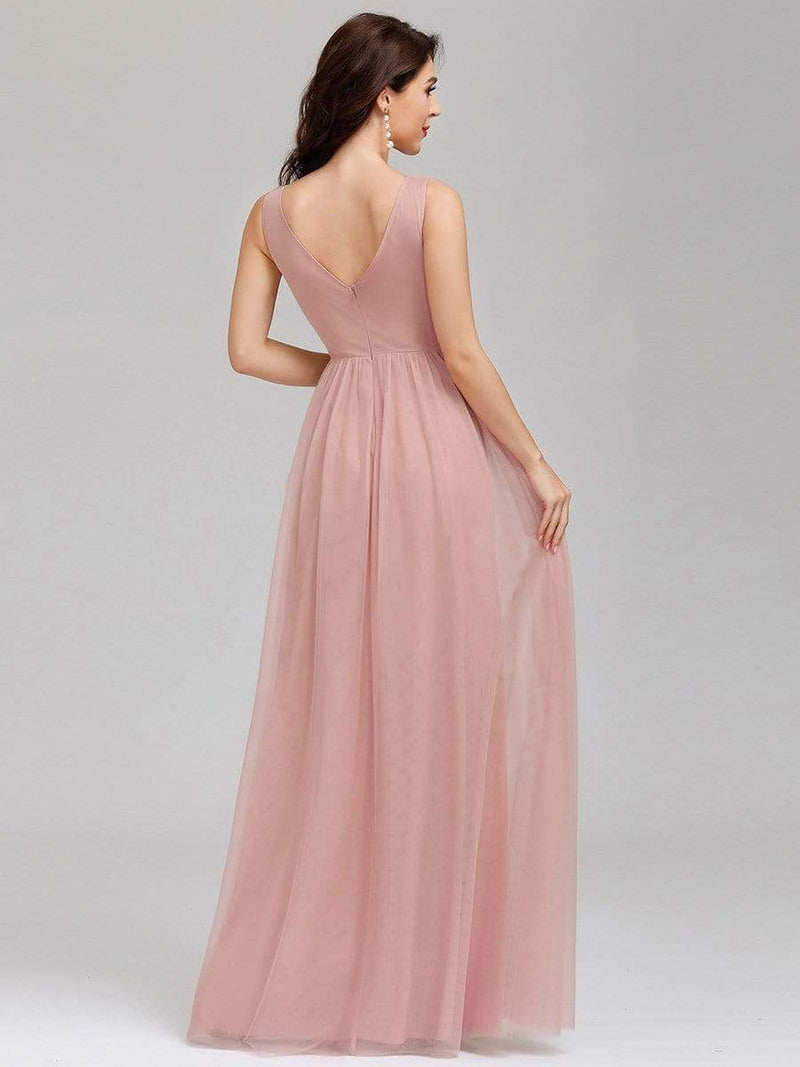 Ever-Pretty Women'S A-Line V-Neck Floor-Length Bridesmaid Dresses-Pink 2