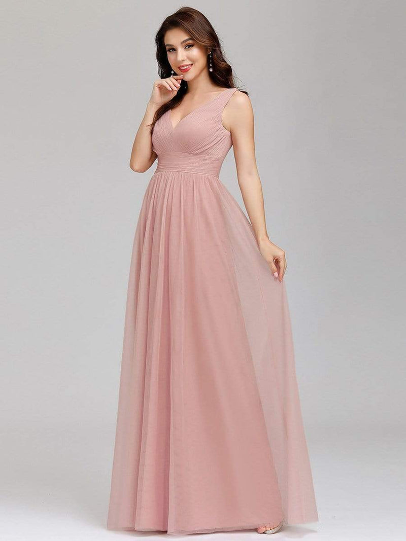 Ever-Pretty Women'S A-Line V-Neck Floor-Length Bridesmaid Dresses-Pink 3