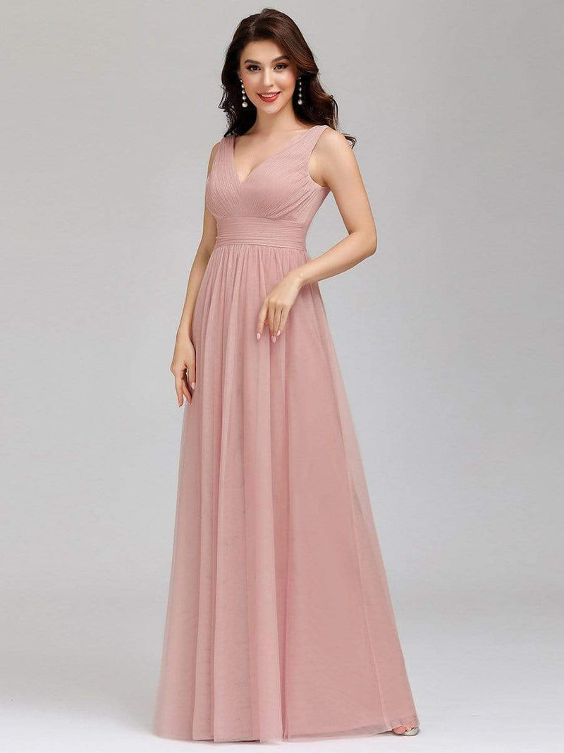 Ever-Pretty Women'S A-Line V-Neck Floor-Length Bridesmaid Dresses-Pink 4