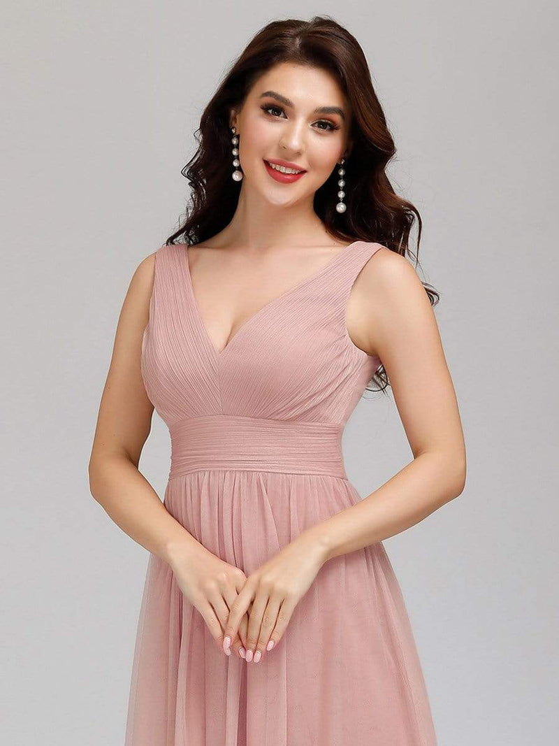 Ever-Pretty Women'S A-Line V-Neck Floor-Length Bridesmaid Dresses-Pink 5