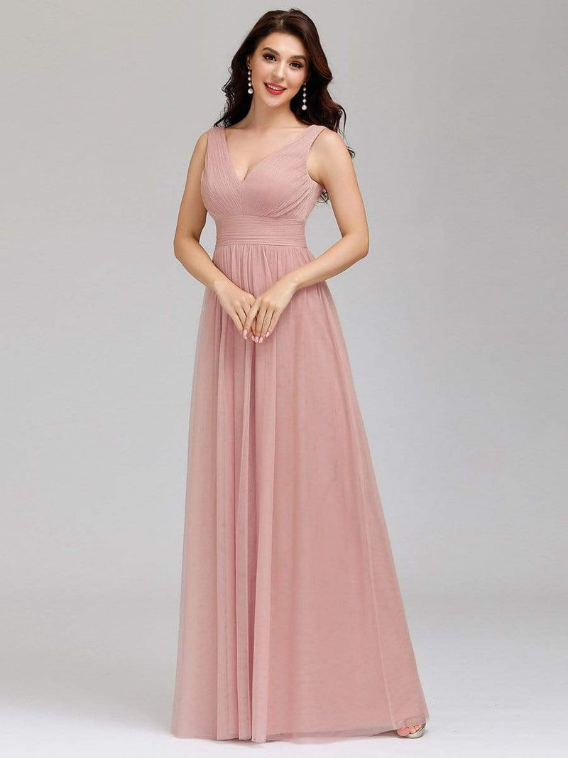 Ever-Pretty Women'S A-Line V-Neck Floor-Length Bridesmaid Dresses-Pink 1