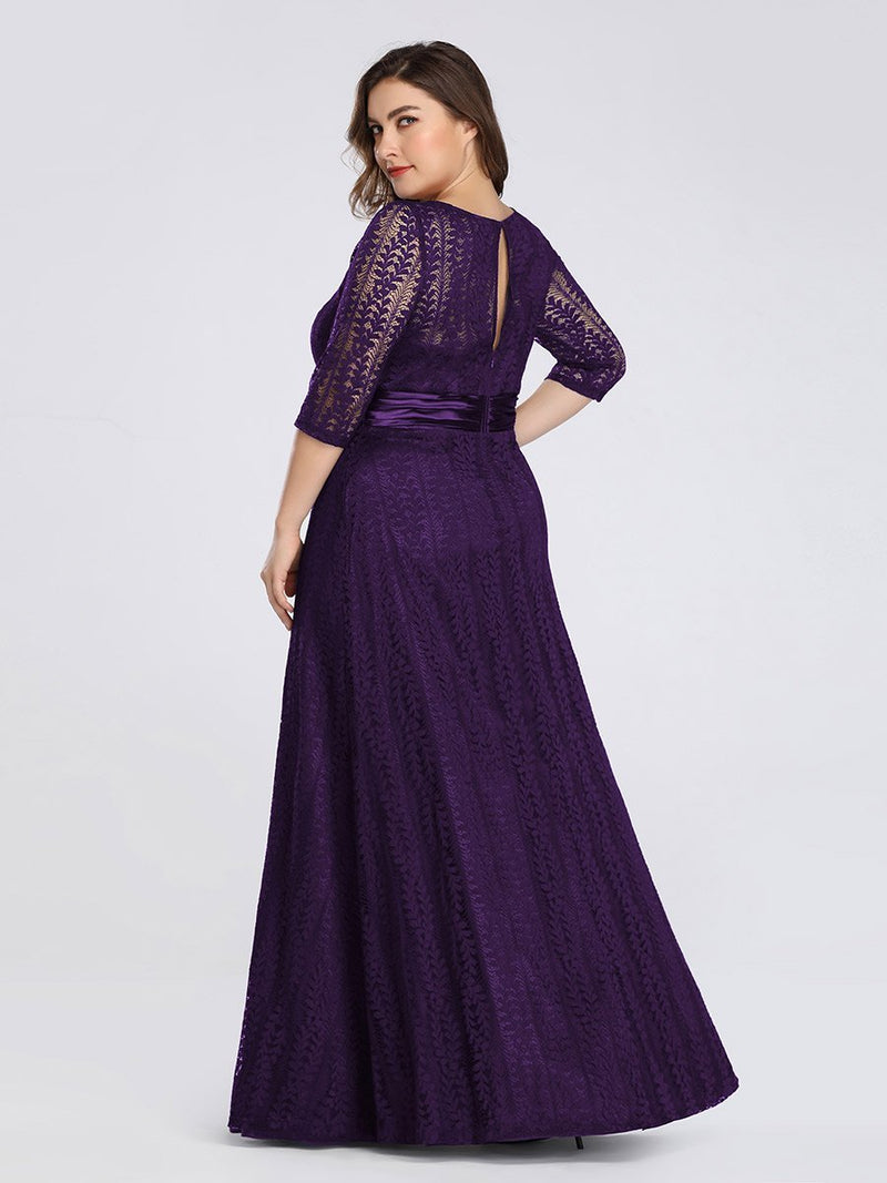 Round Neck Plus Size Mother of the Bride Dresses with 3/4 Sleeve-Violet Fonce 2