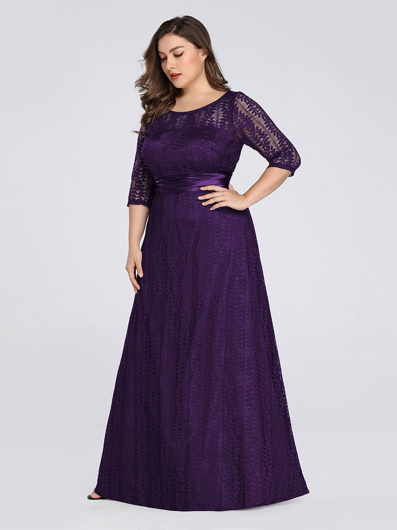 Round Neck Plus Size Mother of the Bride Dresses with 3/4 Sleeve-Violet Fonce 4