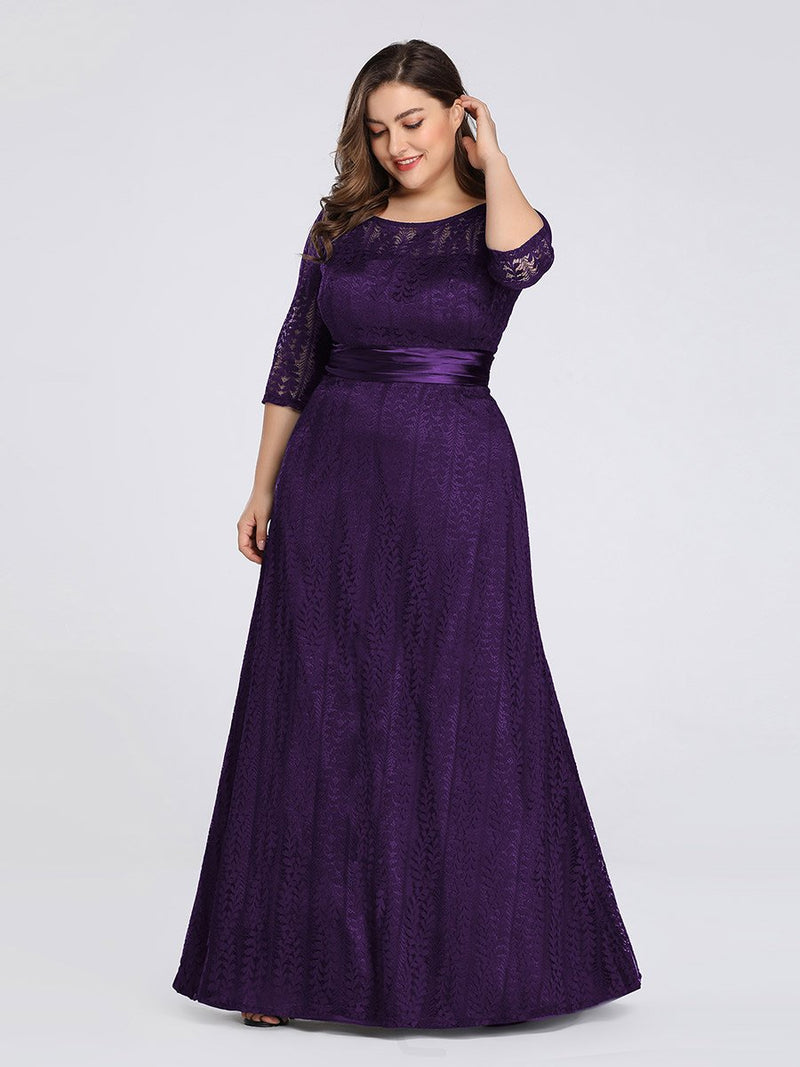 Round Neck Plus Size Mother of the Bride Dresses with 3/4 Sleeve-Violet Fonce 3