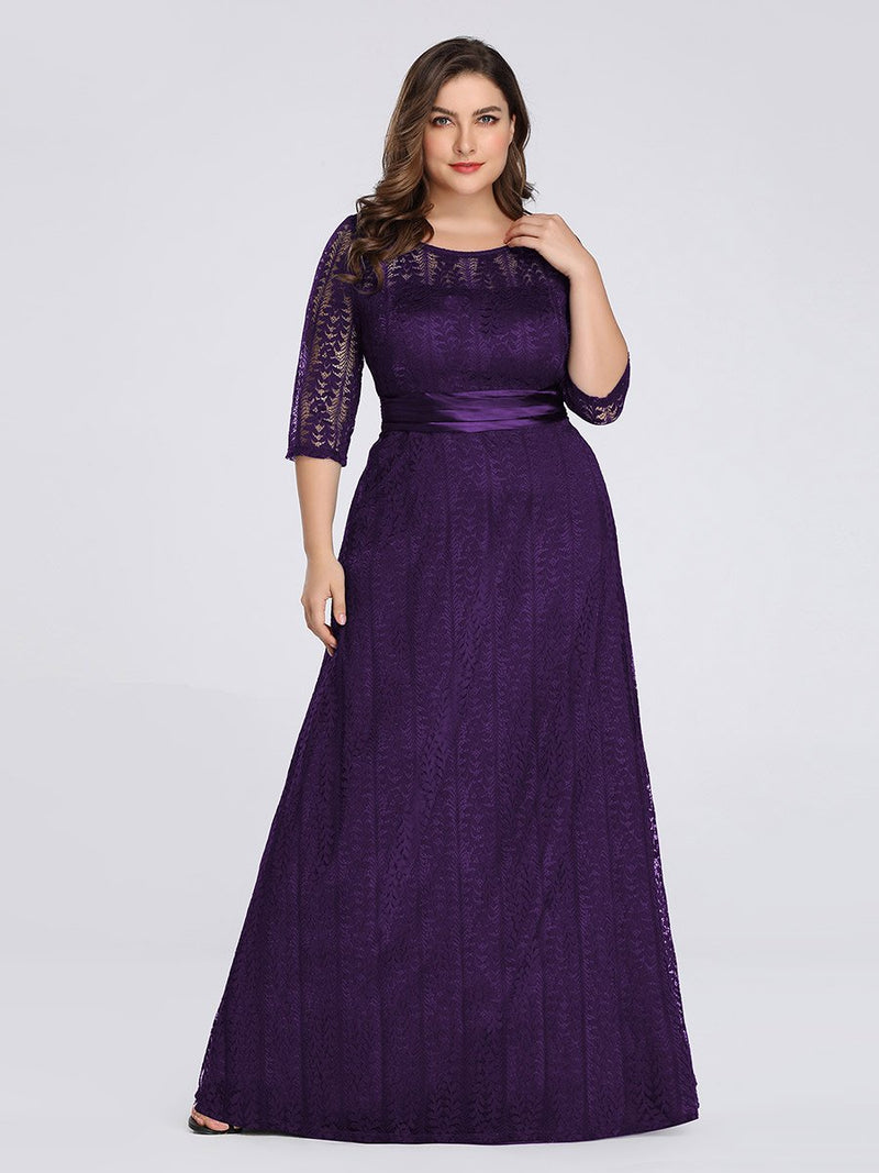 Round Neck Plus Size Mother of the Bride Dresses with 3/4 Sleeve-Violet Fonce 1