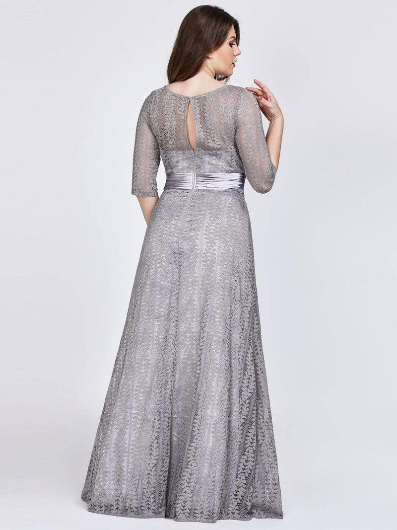 Round Neck Plus Size Mother of the Bride Dresses with 3/4 Sleeve-Gris 2