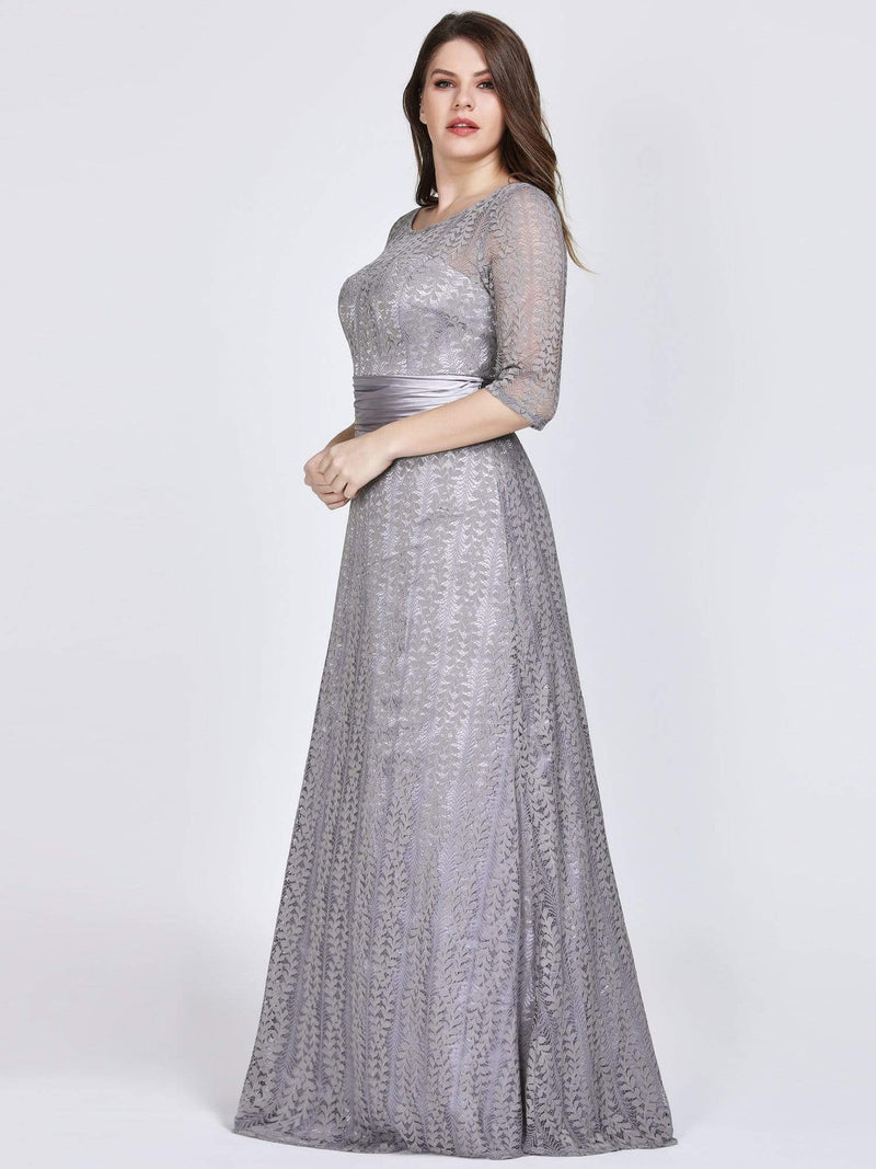 Round Neck Plus Size Mother of the Bride Dresses with 3/4 Sleeve-Gris 3