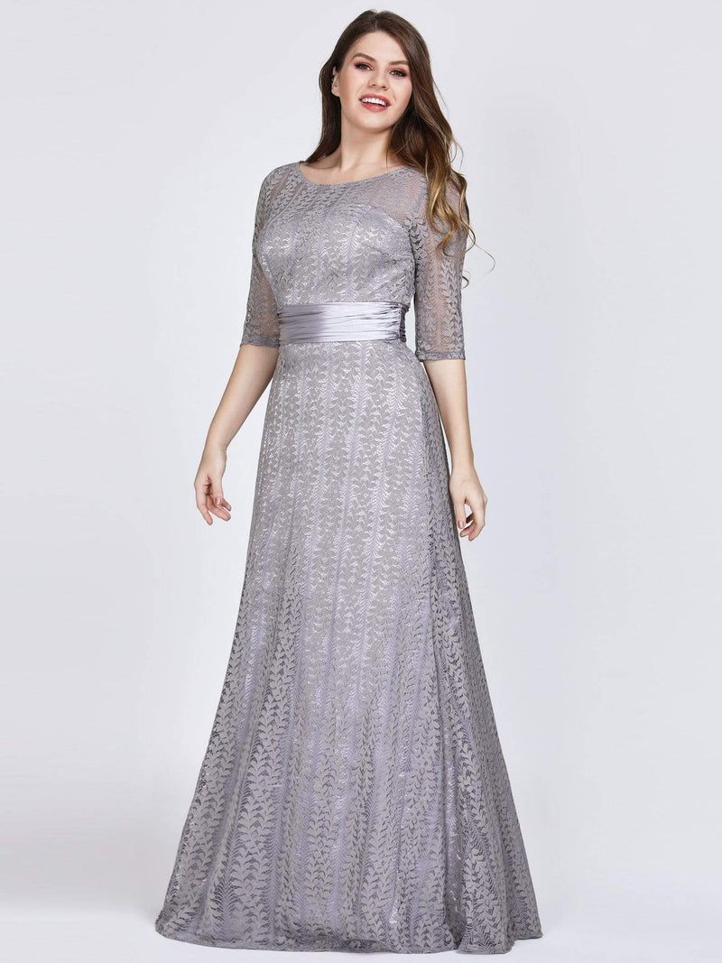 Round Neck Plus Size Mother of the Bride Dresses with 3/4 Sleeve-Gris 4