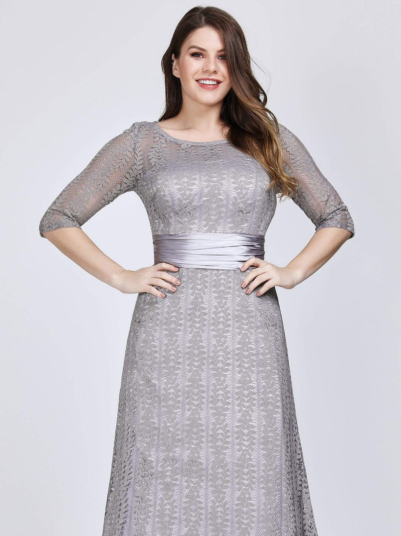 Round Neck Plus Size Mother of the Bride Dresses with 3/4 Sleeve-Gris 6