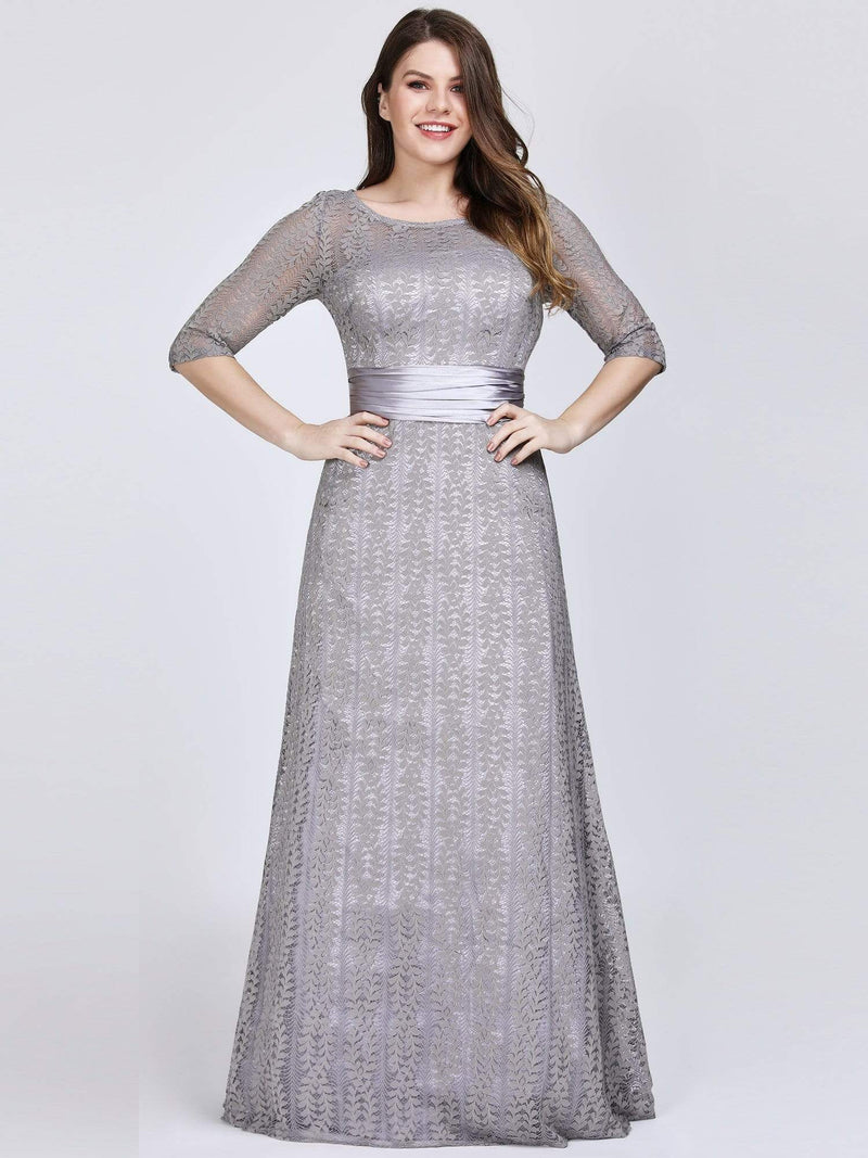 Round Neck Plus Size Mother of the Bride Dresses with 3/4 Sleeve-Gris 1