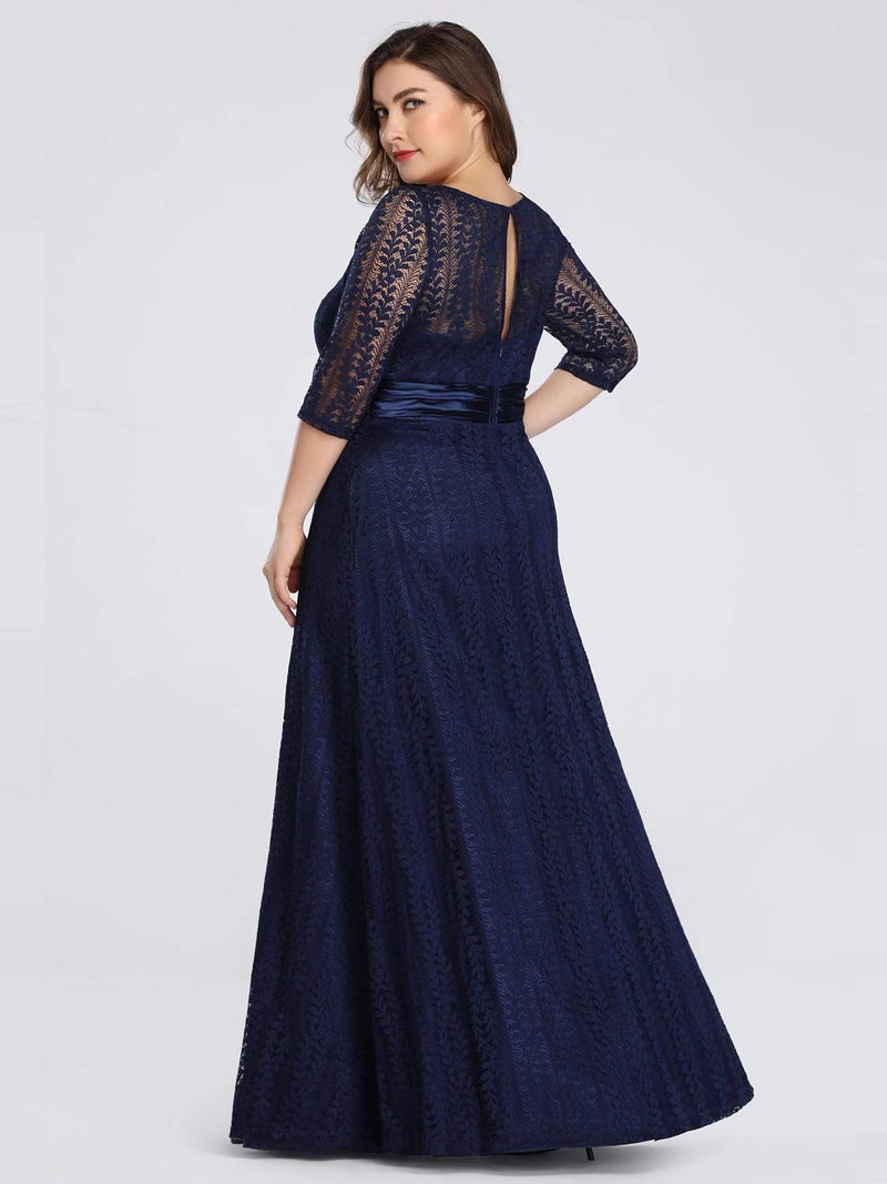 Round Neck Plus Size Mother of the Bride Dresses with 3/4 Sleeve-Bleu Marine 2