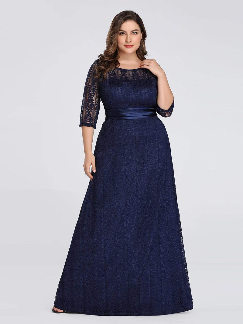 Round Neck Plus Size Mother of the Bride Dresses with 3/4 Sleeve-Bleu Marine 1