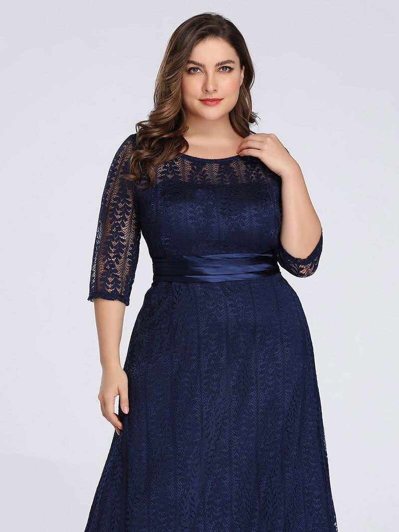 Round Neck Plus Size Mother of the Bride Dresses with 3/4 Sleeve-Bleu Marine 5