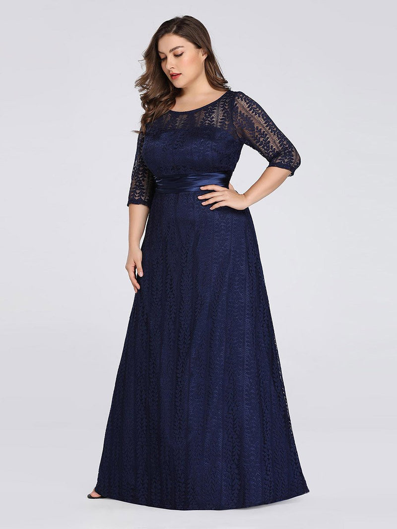 Round Neck Plus Size Mother of the Bride Dresses with 3/4 Sleeve-Bleu Marine 4