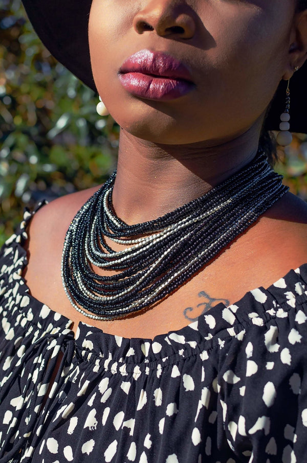 African Multilayer Beaded Necklace - Leone Culture