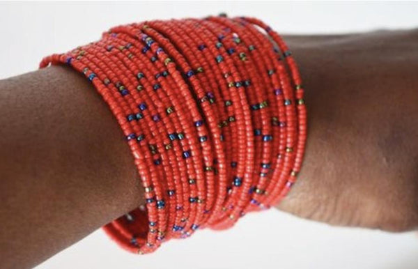 African Spiral Coil Beaded Bracelets - Leone Culture