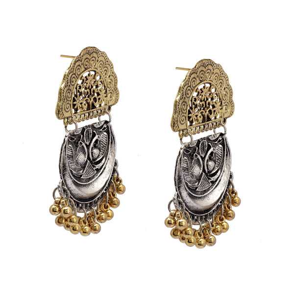 Chandbali Beaded Tassel Earrings - Leone Culture