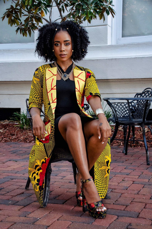 Rahima African Print Embroidered Jacket - Leone Culture