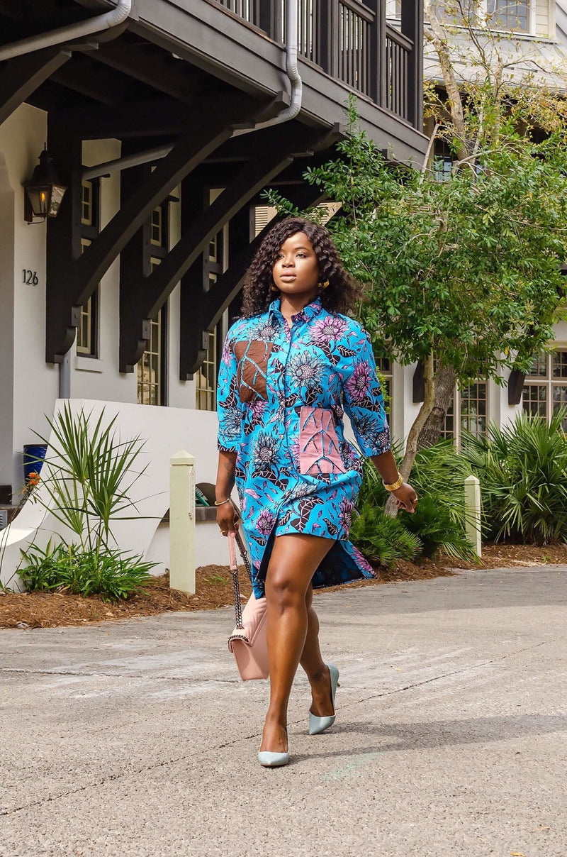 Rion African Print Shirt Dress - Leone Culture