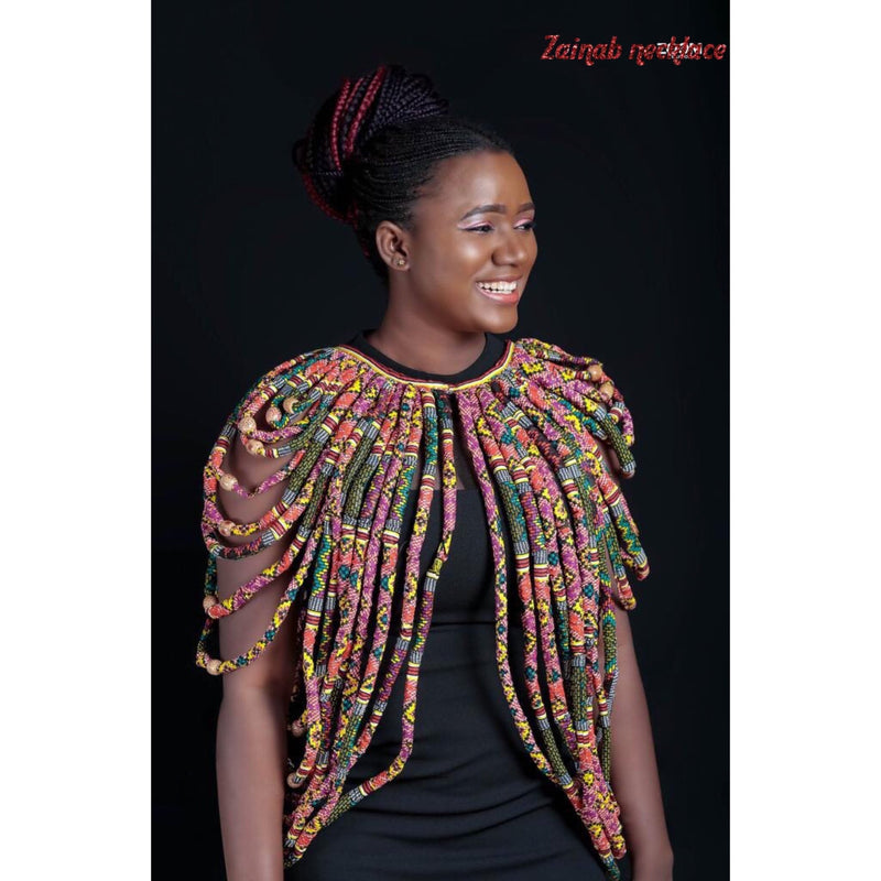 Zainab African Print Shoulder Necklace (ON SALE) - Leone Culture