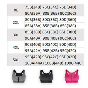 SS Online Trading - Plus Size Online Shop - Sportswear - Front zip shockproof push up gym fitness athletic running yoga sports bra