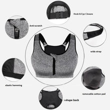 Load image into Gallery viewer, SS Online Trading - Plus Size Online Shop - Sportswear - Front zip shockproof push up gym fitness athletic running yoga sports bra