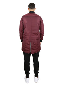 Crimson Red Longline Bomber