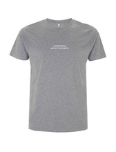 Load image into Gallery viewer, White Root Of All Evil- Melange Grey T-shirt