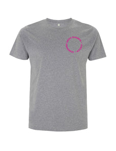 Neon Pink Root Of All Evil- Melange Grey T-Shirt