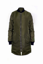 Load image into Gallery viewer, Khaki Green Longline Bomber