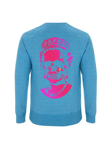 Neon Pink Root Of All Evil-Melange Mid Blue Sweatshirt