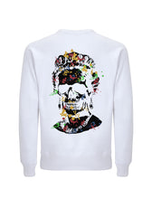 Load image into Gallery viewer, Splash Skull Artwork with Black Print - White Sweatshirt
