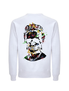 Splash Skull Artwork with Black Print - White Sweatshirt