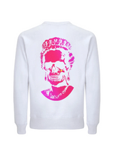Load image into Gallery viewer, Neon Pink Root Of All Evil-Melange Mid Blue Sweatshirt