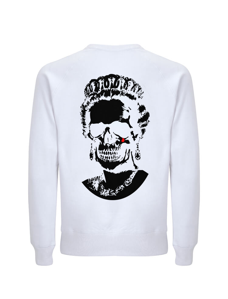 Black Root Of All Evil- White Sweatshirt