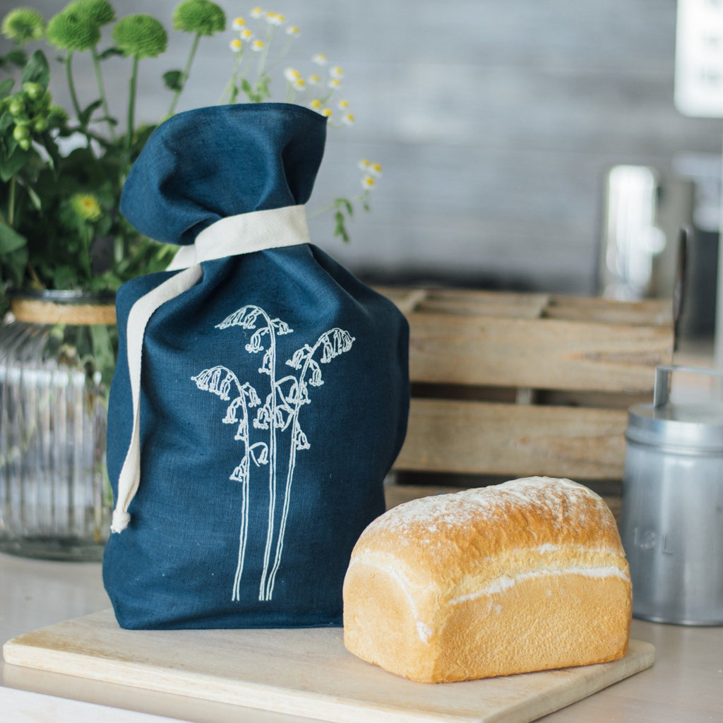 Navy Blue Linen Bread Bag with bread